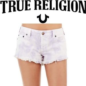 True Religion Keira Mid Rise Tie Dye Cutoff Shorts